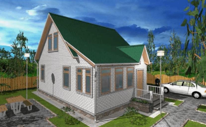 """Двухэтажный жилой дом с холодной верандой """"Самара"""""""
