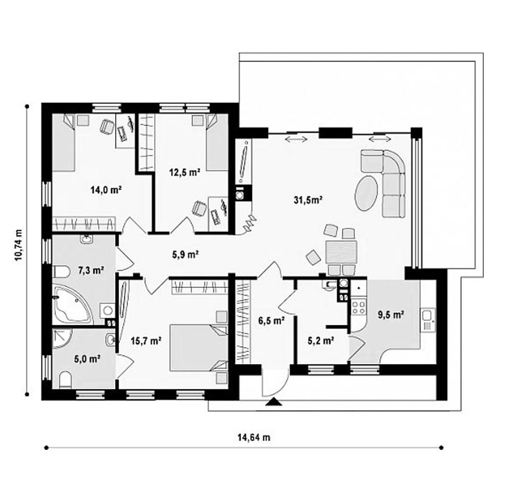 """Одноэтажный жилой дом """"Гранат"""""""