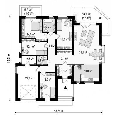 Одноэтажный жилой дом 134,1 м №2